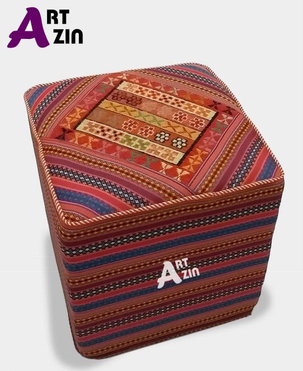 مبل راحتی پاف سنتی مربع رویه گلیم سوزنی